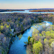 Manistee River And Hodenpyle Dam Aerial Art Print