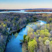 Manistee River Evening Aerial Art Print