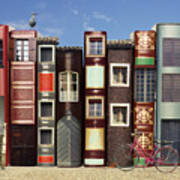Many Books With Windows Doors Lamps In Art Print