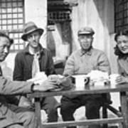 Mao Tse Tung, Wife, Others Seated At Tab Art Print