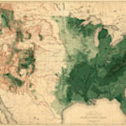 Map Of American Forests 1883 Art Print