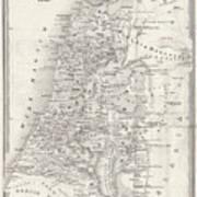 Map Of Palestine, Steel Engraving Art Print