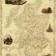 Map Of Scotland From 1851 Art Print
