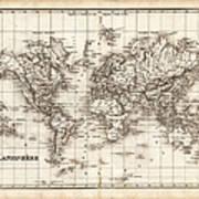 Map Of The World 1842 Art Print