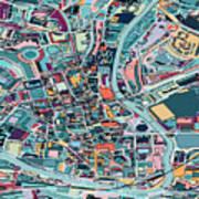 Map Style Art Background,bath City Art Print