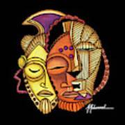 Maruvian Masks 2 Black Art Print