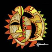 Maruvian Masks 3 Black Art Print