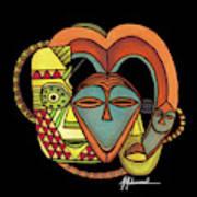 Maruvian Masks 5 Black Art Print