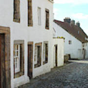 medieval cobbled street in Culross, fife Art Print
