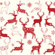 Merry Christmas Reindeer,reindeer Art Print