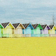 Mersea Island Beach Hut Oil Painting Look 1 Art Print