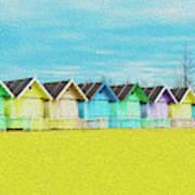 Mersea Island Beach Hut Oil Painting Look 2 Art Print