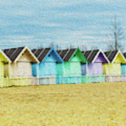 Mersea Island Beach Hut Oil Painting Look 3 Art Print
