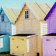 Mersea Island Beach Hut Oil Painting Look 6 Art Print