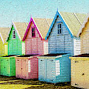 Mersea Island Beach Hut Oil Painting Look 7 Art Print