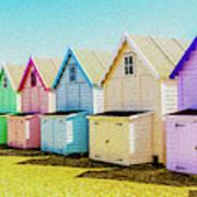 Mersea Island Beach Hut Oil Painting Look 9 Art Print