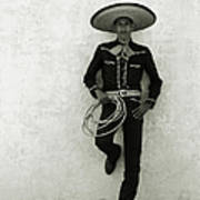 Mexican Cowboy Wearing Hat And Holding Art Print