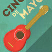 Mexican Guitar. Posters In Retro Style Art Print
