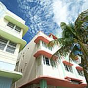 Miami Art Deco Drive Architecture Blue Art Print