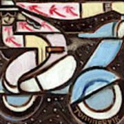 Miami Beach Man Riding A vespa in Outer Space Art Print Art Print