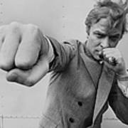 Michael Caine Throwing A Punch Art Print
