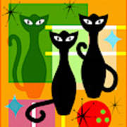 Mid Century Modern Abstract Mcm Bowling Alley Cats 20190113 Square Art Print