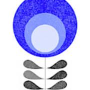 Mid Century Modern Blue Flower 3 Art Print