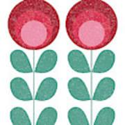 Mid Century Modern Pink Flowers  Art Print