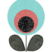 Mid Century Modern Teal Flower II Art Print