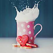 Milk And Heart Shape Cookies Art Print