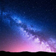Milky Way And Pink Light At Mountains Art Print