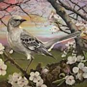 Mockingbird Sunset Art Print
