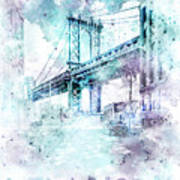 Modern Art Nyc Manhattan Bridge - Jazzy Watercolor Art Print
