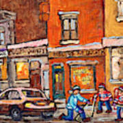 Molly And Bill's Duluth Near Coloniale And St Dominique C Spandau Plateau Mont Royal Hockey Artist  Art Print