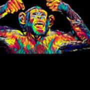 Monkey Drummer Gift For Musicians Color Design Art Print