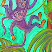 Monkeys On Creepers Art Print