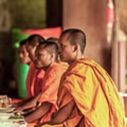 Monks At Breakfast, Wat Monastery Art Print