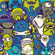 Monsters And Aliens- Seamless Background Art Print