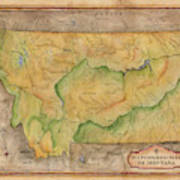 Montana Custom Map Art Rivers Map Hand Painted Art Print