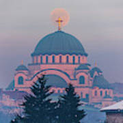 Moon In The Cross Of The Magnificent St. Sava Temple In Belgrade Art Print