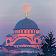Moon On Top Of The Cross Of The Magnificent St. Sava Temple In Belgrade Art Print