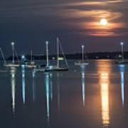 Moon Over Rockland Art Print