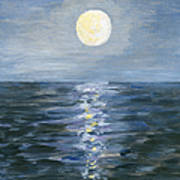Moonlight Reflection In The Sea Art Print
