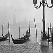 Moored Gondolas On A Foggy Grand Canal W Art Print