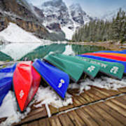 Moraine Lake Canoes Art Print