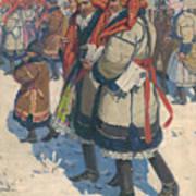 Moravian Slovaks In The Winter Art Print