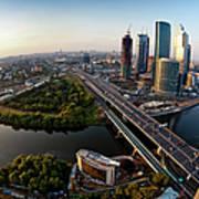 Moscow Skyline. Aerial View. Fisheye Art Print