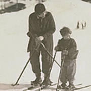 Mother And Son Skiing Art Print