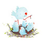 Mother Bird In Nest Feeding Her Babies Art Print