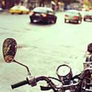 Motorcycle In  Rain Art Print